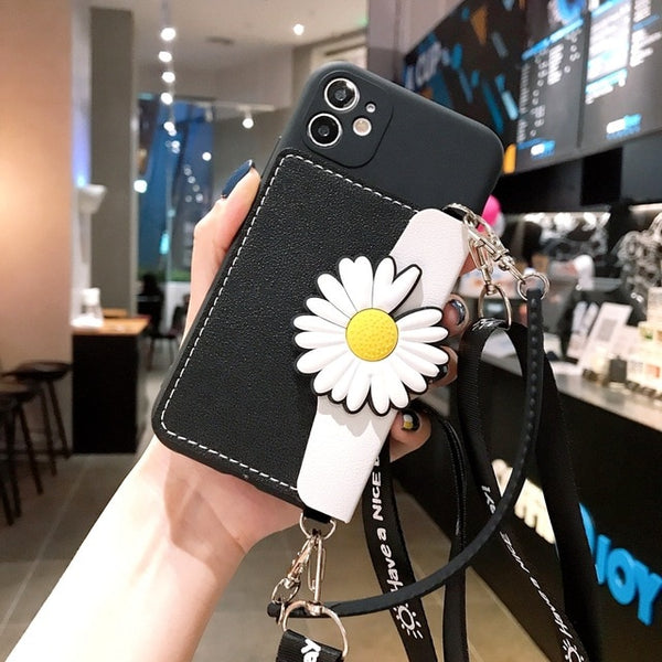 Luxury Neck Strap Crossbody Phone Case For iPhone Flower Wallet Cover