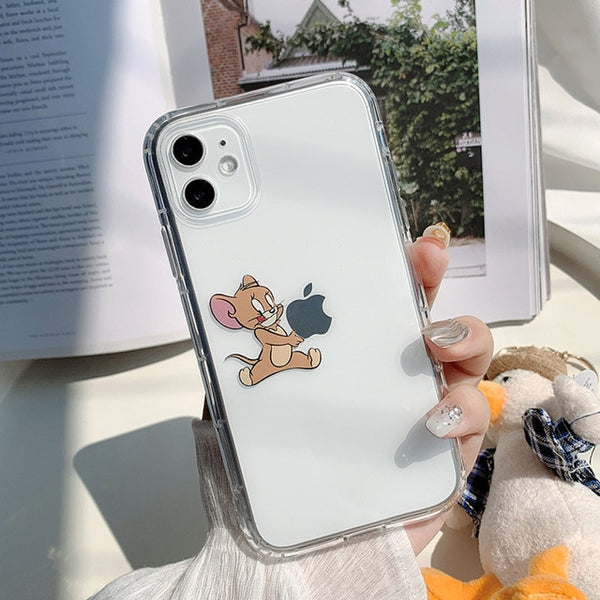 Cute Cartoon Tom & Jerry Transparent Case for iPhone 11 Pro Funny Phone Cover