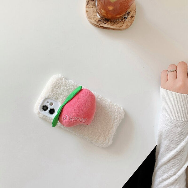 Cute Peach Plush Phone Case For iPhone