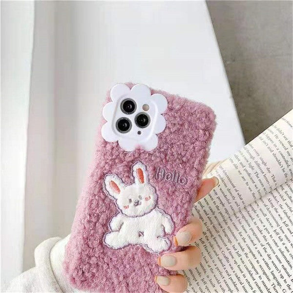 Winter Warm Fur Phone Cases Cute Cartoon Duck iPhone Case Soft Silicone cover