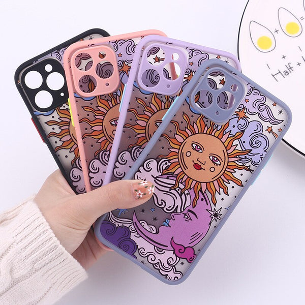 Funny Sun Moon Face Shockproof Phone Case Matte Candy Back Cover