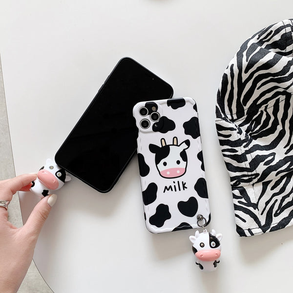 Musical Glowing Cow Pattern Cute Phone Case for iPhone
