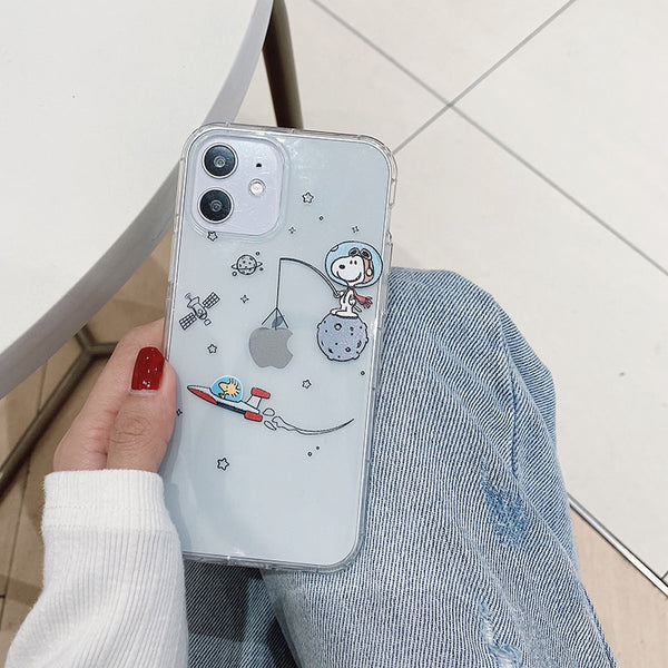 Cute Cartoon Dog Peanuts Starry sky Astronaut Phone Case For iPhone 11 Pro Max