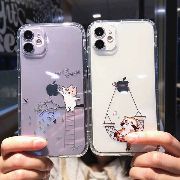Cute Cartoon Animal Cat Clear Phone Case For iPhone