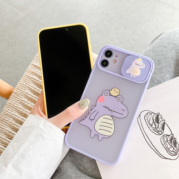 iPhone 12 Phone Case Camera Lens Protection Cute Dinosaur Cover Coque - LABONNI