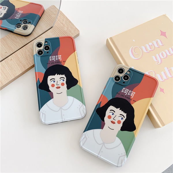 Funny Korean Girl Abstract iPhone Case Vintage Cell Phone Cover