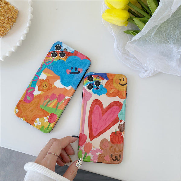 Ins Cute Cartoon Graffiti Oil Painting Phone Case For iPhone 11 Pro Max Xr X Xs Max
