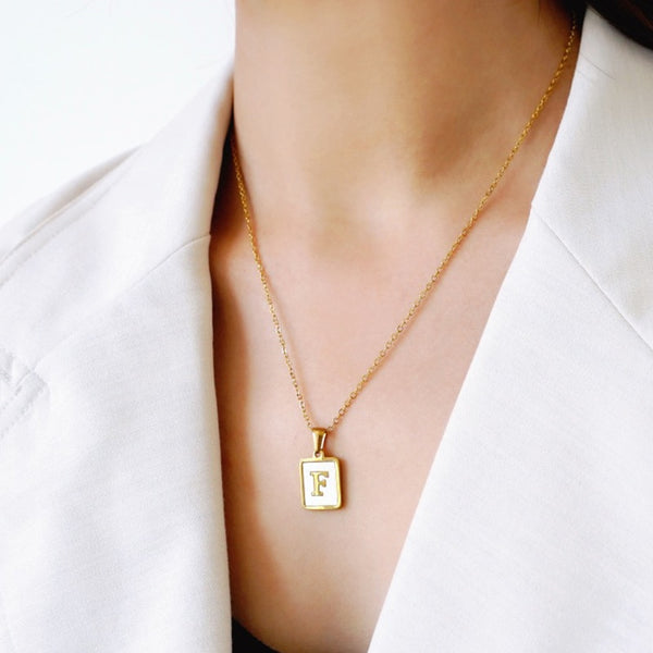 Initial Necklace Minimalist Natural Pearl Shell Gold Letter Pendant