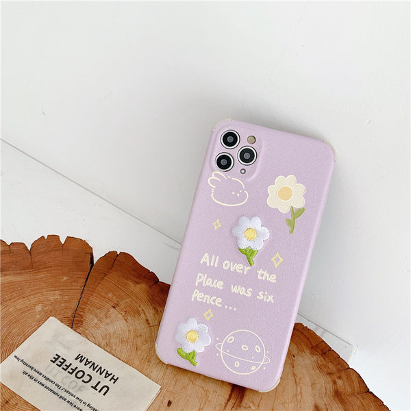 Cute Purple Daisy Flower Embroidery Phone Case For iPhone 12 11 Pro Max