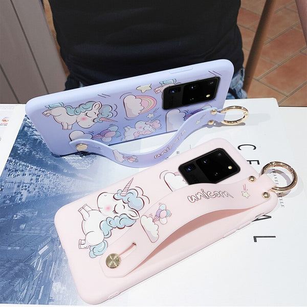 Unicorn Samsung Case Cute Cartoon Phone Cover & Strap Toy Gift
