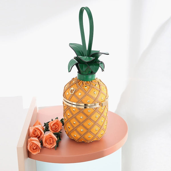Fun Pineapple Shoulder Bag Bucket Handbags Chain Crossbody Bags