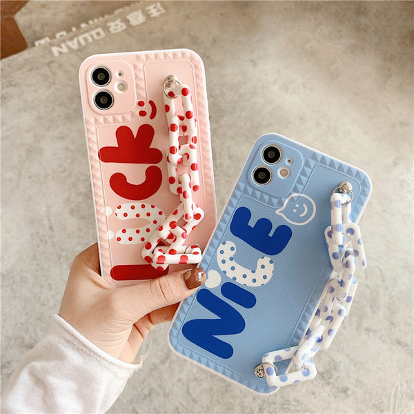 Cute Letter Luck Couple Cell Phone Case for iPhone & Bracelets