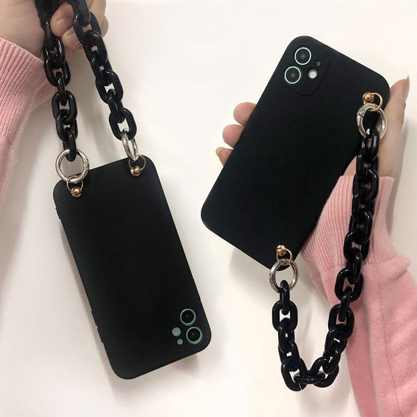 Protection Liquid Silicone Case for iPhone 11 Black Phone Case & Chain Bracelets