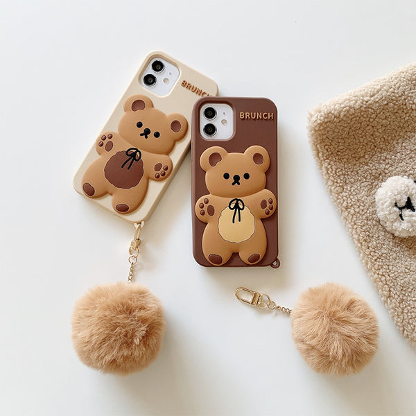 Cute Bear Phone Cover Silicone iPhone Case With Candy Lanyard Phone Accessory