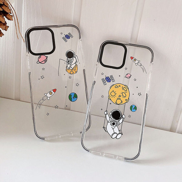 Fun astronaut and fisher astronaut apple iphone case-clear
