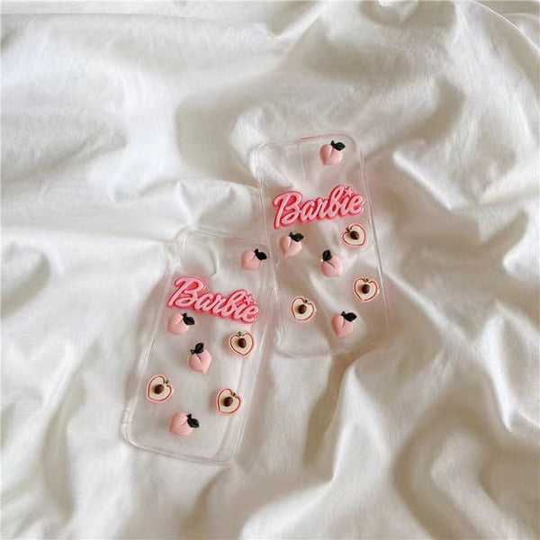 Pink fruit and barbie letter iphone case transparent