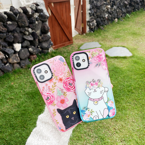 Flower Painting Phone Cover Cute Cat iPhone Case