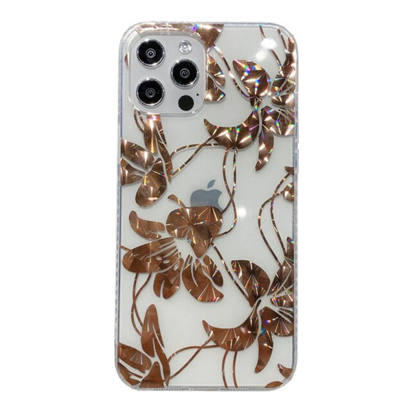 Floral Phone Cover Glossy Butterfly Transparent Mobile Phone Case for iPhone