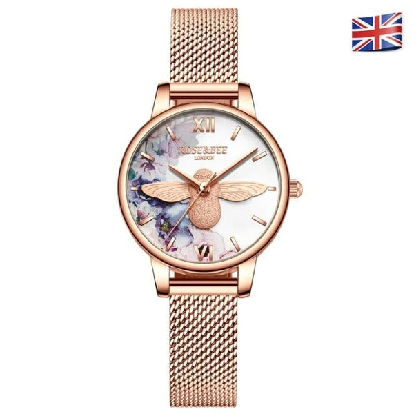 Flowers Watches Japan Quartz Rose Gold Mesh Band Bee Dial Wrist Watch