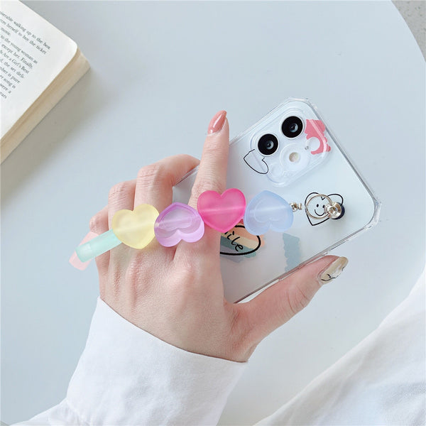 Cute Phone Case Smile Face Bracelet Candy Heart Wrist Strap iPhone Case