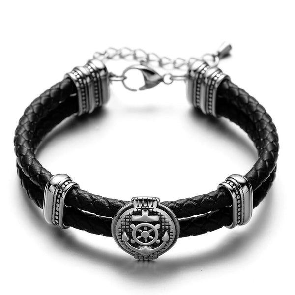 Double Braided Leather Anchor & Wheel Charms Bracelets