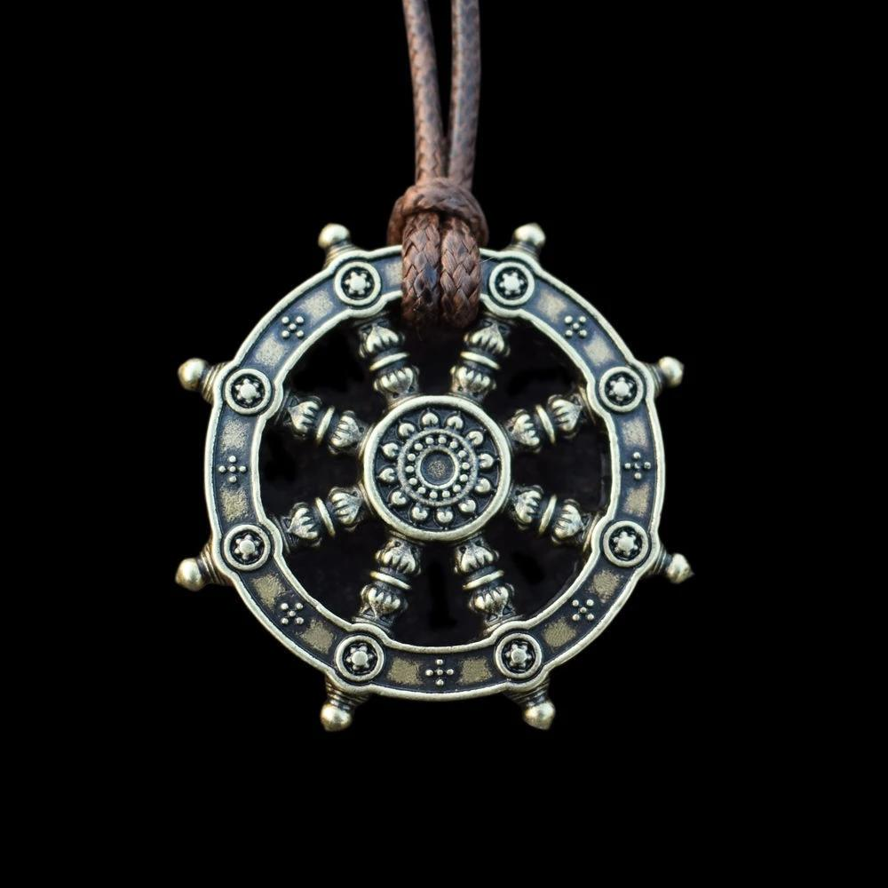 Dharma Wheel of Life Samsara Buddhist Amulet Pendant Talisman Necklace