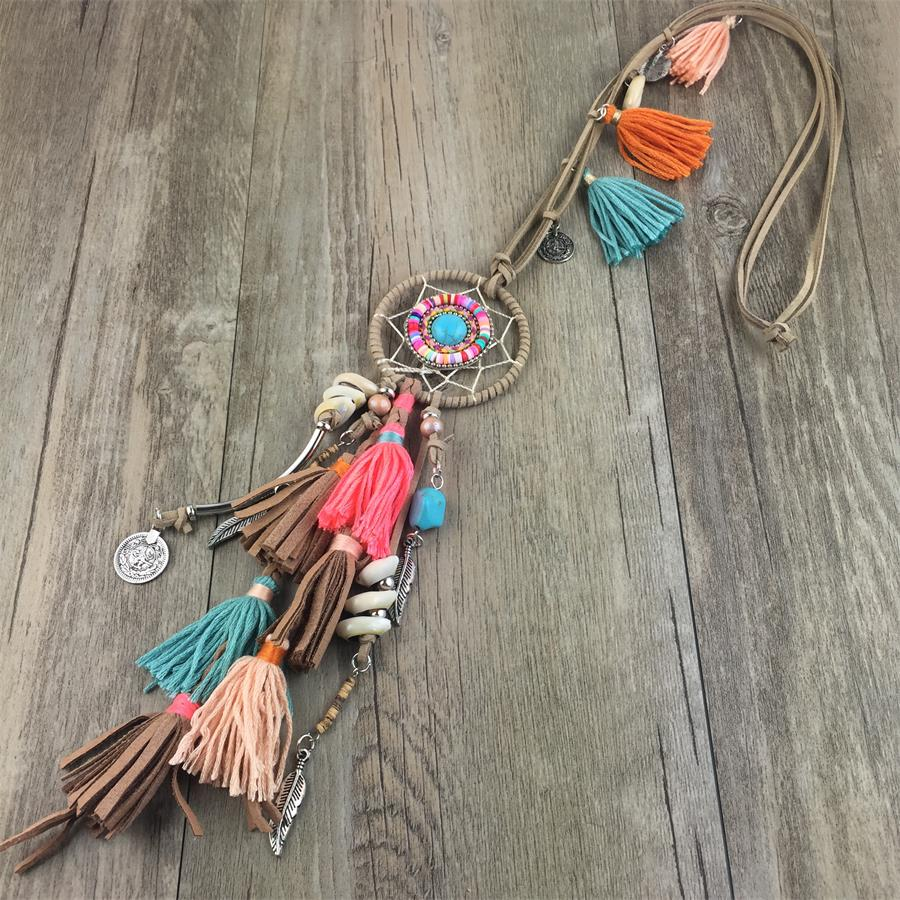 Leather Tassel Boho Necklaces Romantic Charms Handmade Pendant