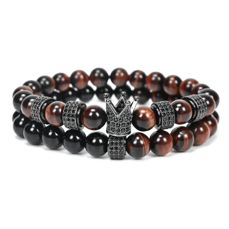 Natural Red Stone Beads Bracelet Men Jewelry Crown Charms Bracelets