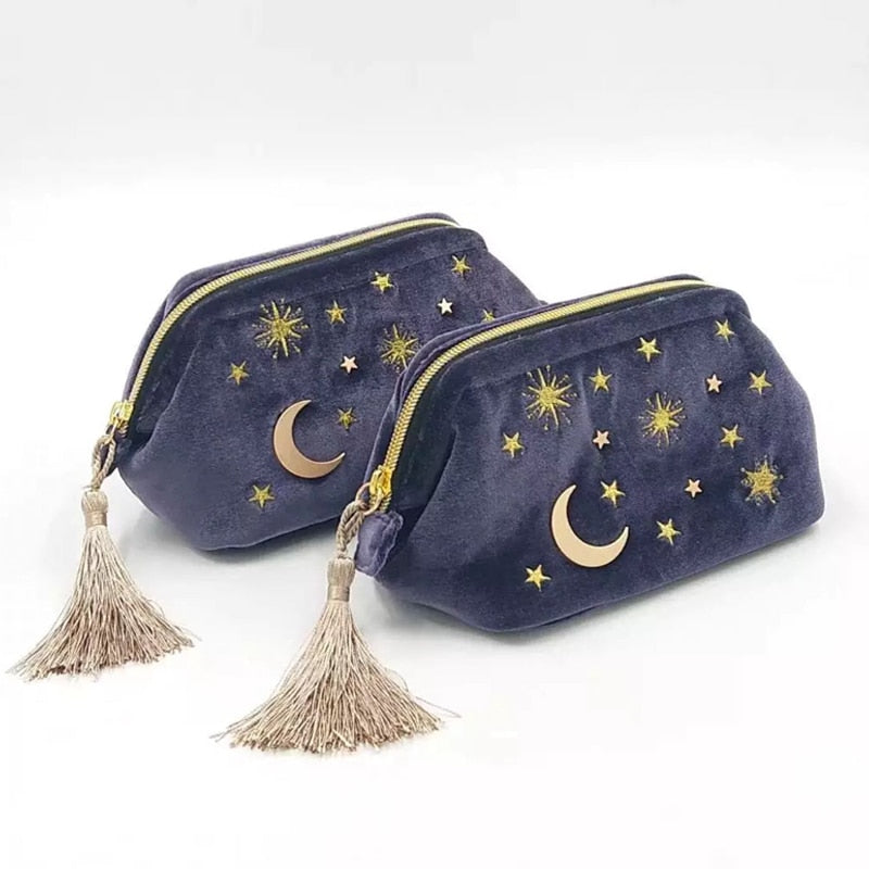 Cute Velvet Moon Star Embroidered Cosmetic Bag Travel Organizer