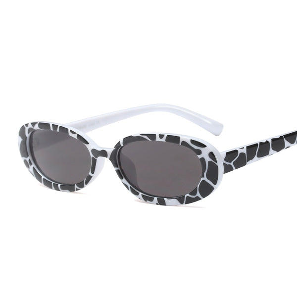 Women Hot Sale Fashion Unique Colors Small Oval Animal Skin Sunglasses