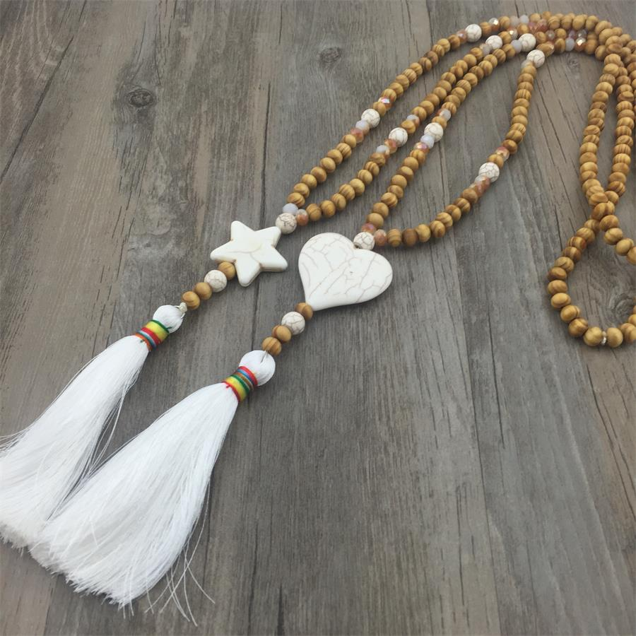 Handmade Maxi Natural Star Heart Stone Wood Beads Tassel Necklace