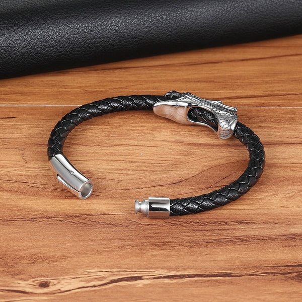Retro Magnetic Clasp Dragon Genuine Leather Bracelet Gifts For Him