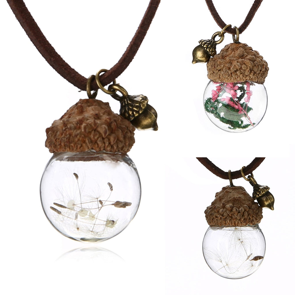 Fashion Crystal Glass Ball Acorn Necklace Vintage Jewelry Femme Bijoux