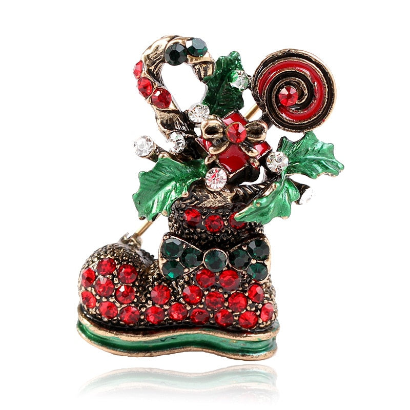 Cute Paint Christmas Boots Brooches For Women Creative Colorful Pins