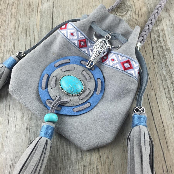 Boho Handmade Tassel Charm Leather Small Bag Women Hİppie Necklace