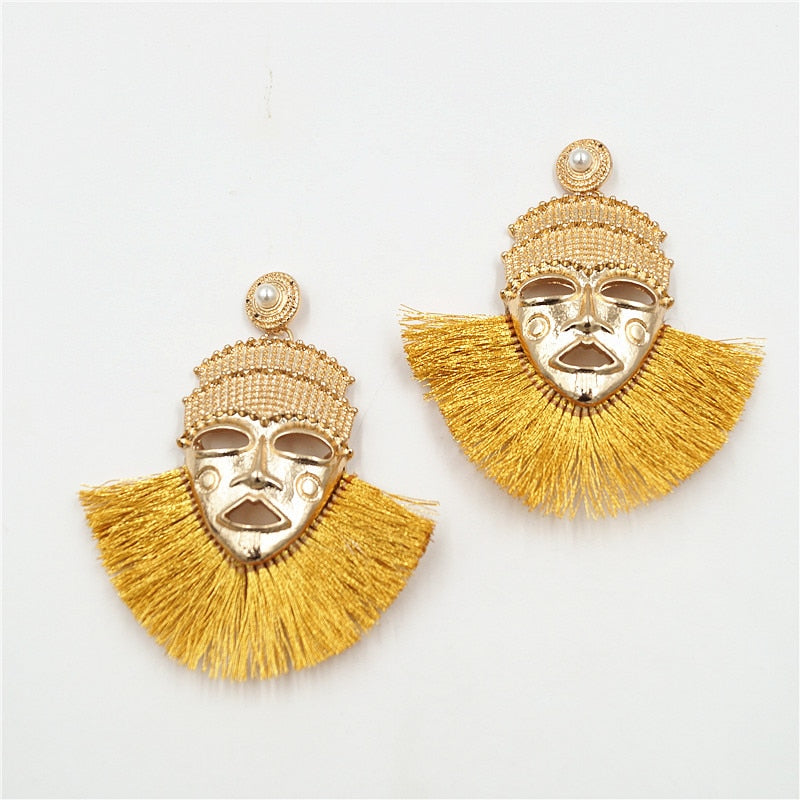 Wonder Pharaohs of Egypt Mask Stud Earrings Tassel Earring