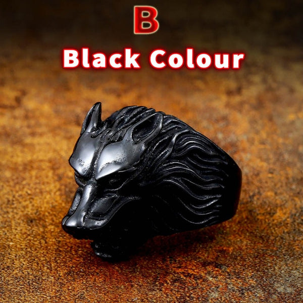 Odin's Symbol Nordic Viking Jewelry Stainless Steel Wolf Head Men Ring