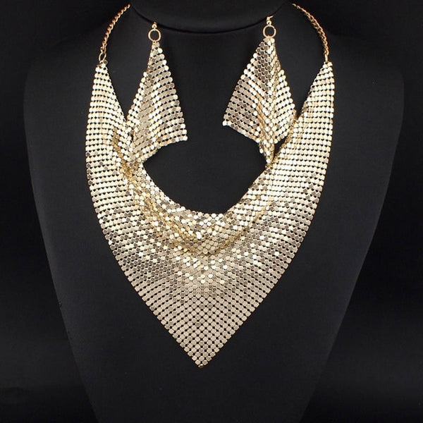Chic Style Shining Metal Slice Bib Choker Necklaces Earrings Jewelry Set