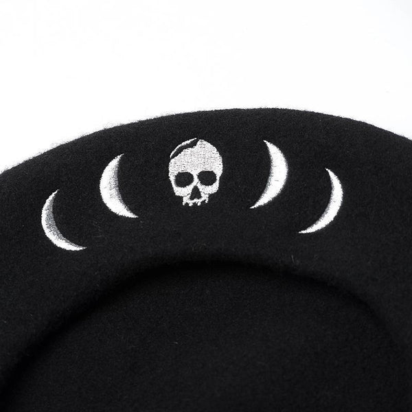 Skeleton Embroidery Punk Gothic Womens Beret 100% Wool French Beanie Cap Hat
