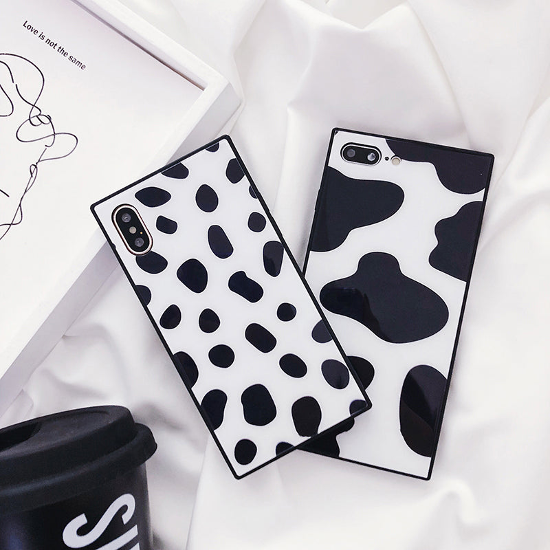 Tempered Glass Square Black White Animal Print iPhone Case
