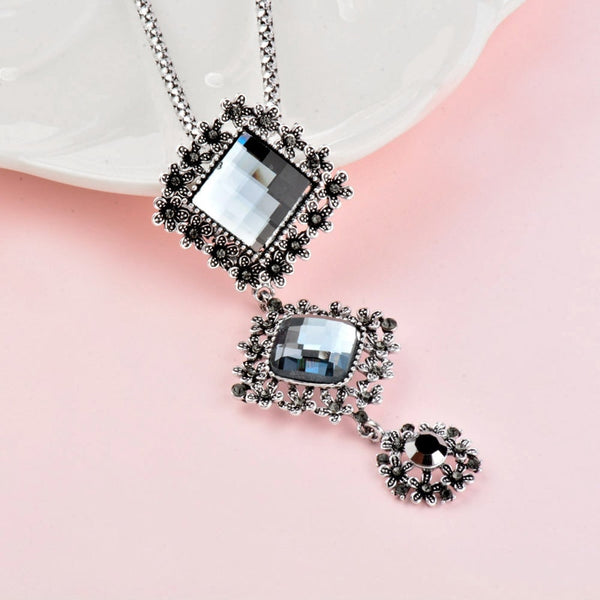 Vintage CZ Square Pendant Long Chain Statement Women Necklace