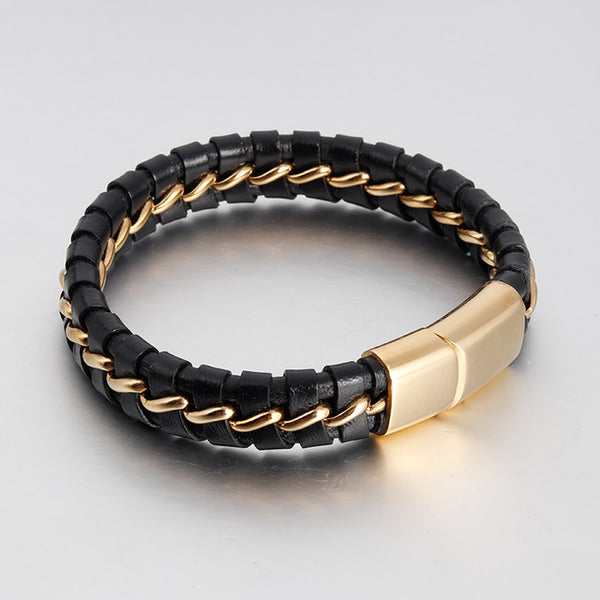 Handmade Black Braided Genuine Leather Bracelets Double Layers Bangles