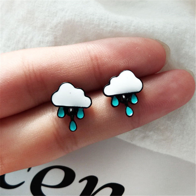 Women Stud Earrings Cartoon Blue White Clouds Cartoon Fashion Women Jewelry