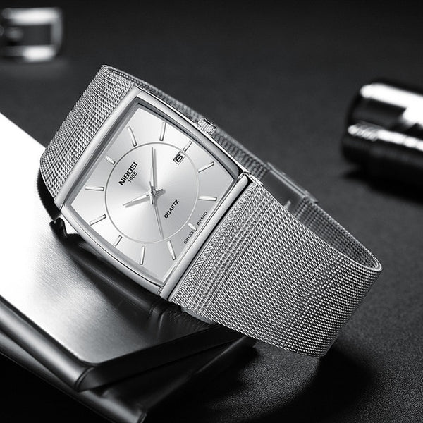 Top Brand Luxury Analog Quartz-Watch Waterproof Square Mens Watches