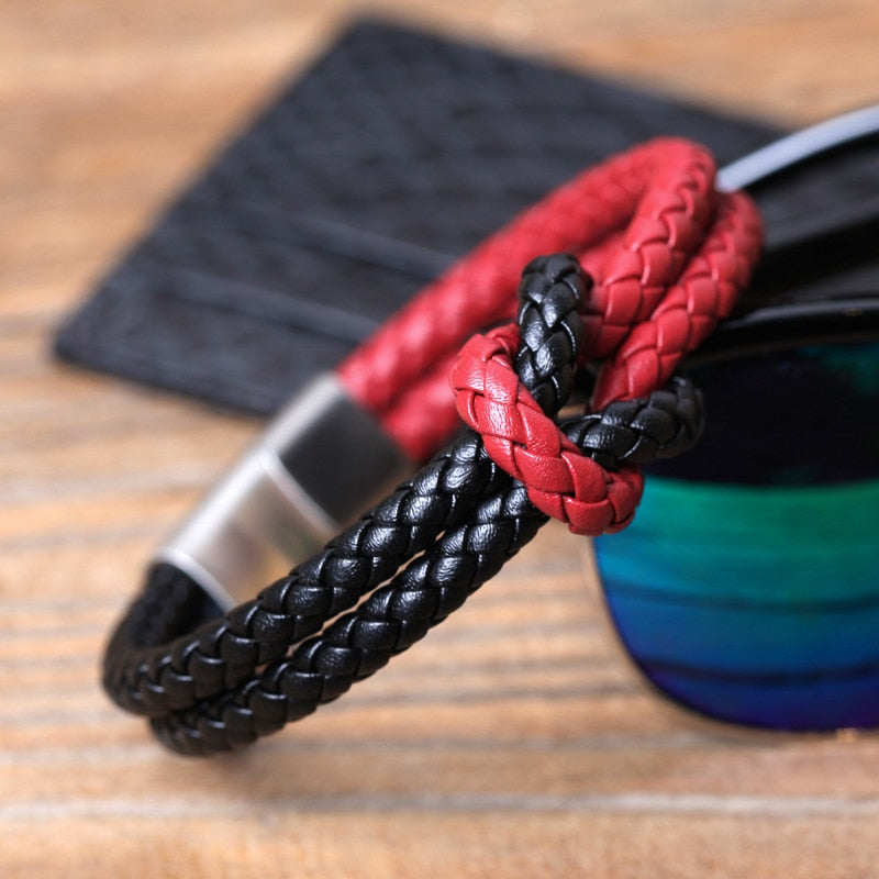 Double Layer Stainless Steel Magnetic Leather Rope Chain Bracelets