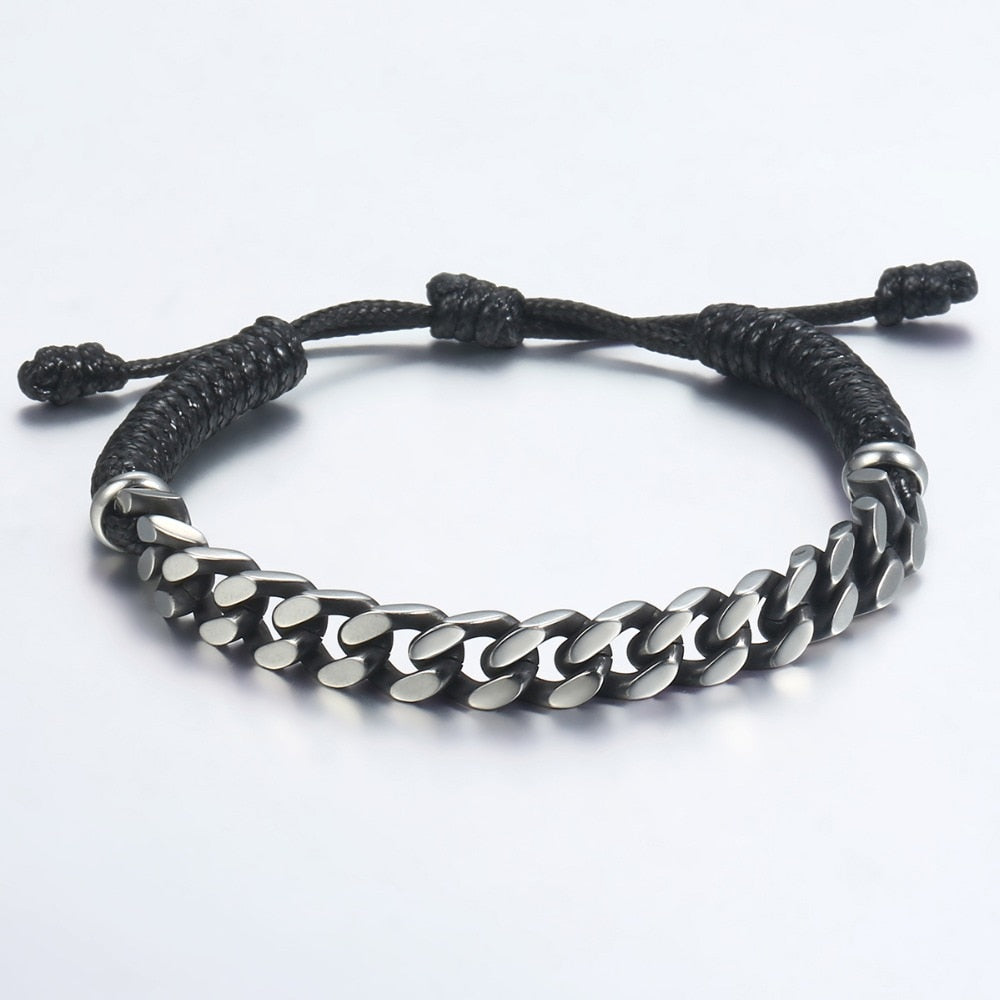 Men's Leather Bracelets Stainless Steel Curb Cuban Link Chain Jewelry Gifts