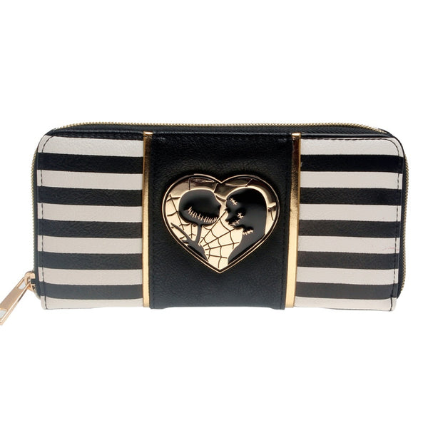 Striped Jack and Sally Zipper Women Wallet Metal Badge Design Purse