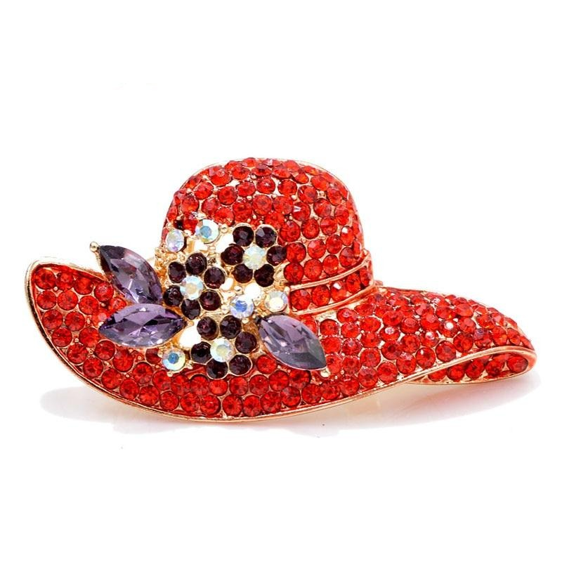 Rhinestone Hat Brooches Red Color New Fashion Bag Accessory