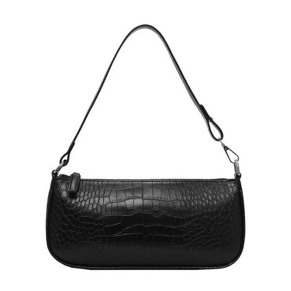 Trendy Retro Alligator Snake Croc Pattern Baguette Bag Women Designer Messenger Handbags This New Solid Zipper Crocodile Texture Popular Luxury Designer Shoulder Bags can be used as clutch and purse evening bag. Black, brown, beige colors available. A luxurious look and Unique Design - Classic baguette style handbag has retro and vintage textures and pattern is perfect for street casual outfit, wedding party, family reunion, prom, banquet and cocktail party.