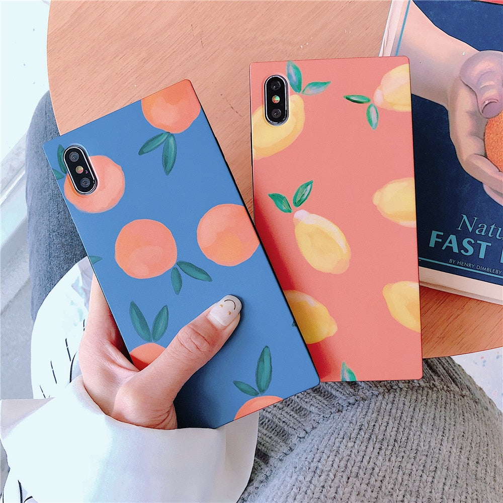 Square Glossy Phone Cases For iPhone Cartoon Fruit Cover Coque Capas